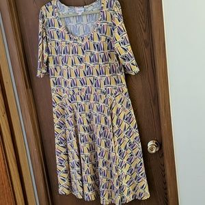 LuLaRoe Patterned Skater Dress - GUC
